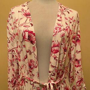 MinkPink Pretty Poppies Duster size L Kimono Pink